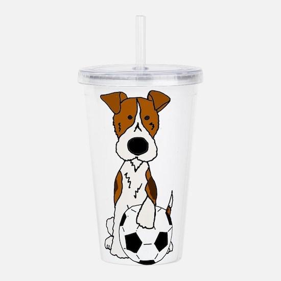 Fox Terrier Soccer Car Acrylic Double-wall Tumbler