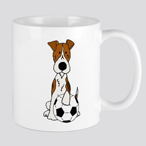 Fox Terrier Soccer Cartoon Mugs