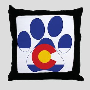 Colorado Paws Throw Pillow