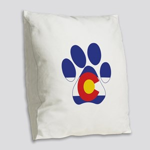 Colorado Paws Burlap Throw Pillow