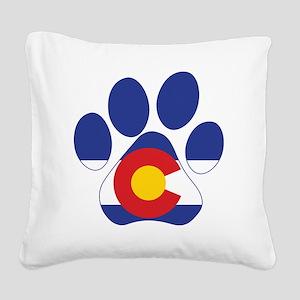 Colorado Paws Square Canvas Pillow