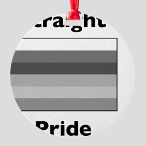 whitestraightpride Round Ornament
