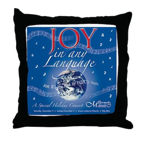 Joy in Any Language Throw Pillow