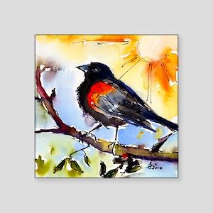 "Red Winged Black Bird Square Sticker 3"" x 3"""