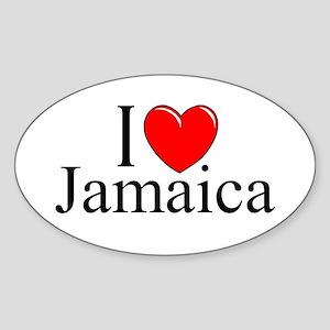 """""""I Love Jamaica"""" Oval Sticker"""
