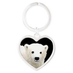 Polar Bear Cub Heart Keychain