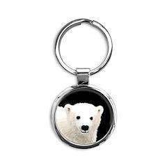 Polar Bear Cub Round Keychain