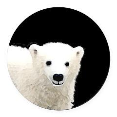Polar Bear Cub Round Car Magnet