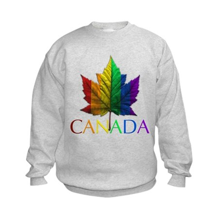 Canada Pride Kids Sweatshirt Rainbow Maple Leaf