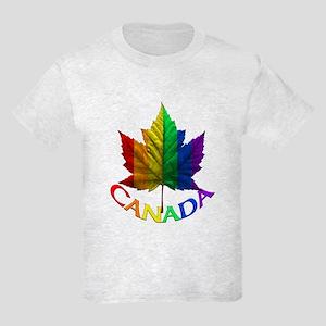 Canada Pride Kids T-Shirt Rainbow Maple leaf Shirt