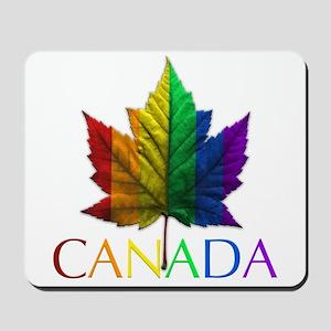 Gay Pride Mousepad Canada Rainbow Maple Leaf