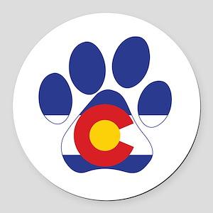 Colorado Paws Round Car Magnet