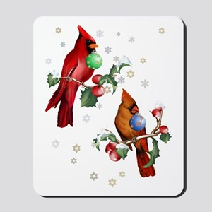 Two Christmas Birds Trans Mousepad