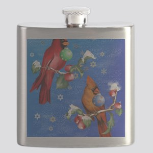 Two Christmas Birds PosterP Flask