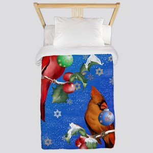 Two Christmas Birds PosterP Twin Duvet