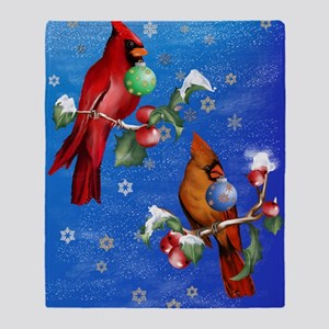 Two Christmas Birds PosterP Throw Blanket