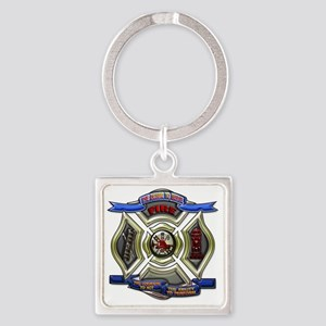 Fire Department Chrest Square Keychain