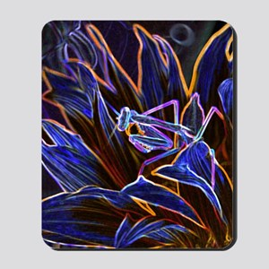 Preying Mantis in Sunflower Glowing Edge Mousepad