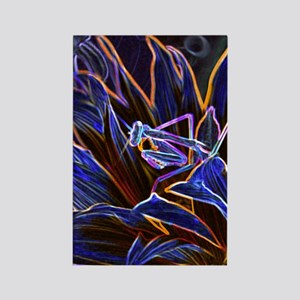 Preying Mantis in Sunflower Glowi Rectangle Magnet