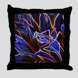 Preying Mantis in Sunflower Glowing E Throw Pillow