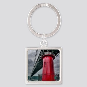 Little Red Lighthouse NYC Square Keychain