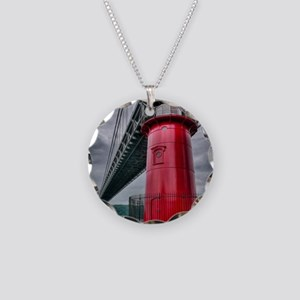 Little Red Lighthouse NYC Necklace Circle Charm