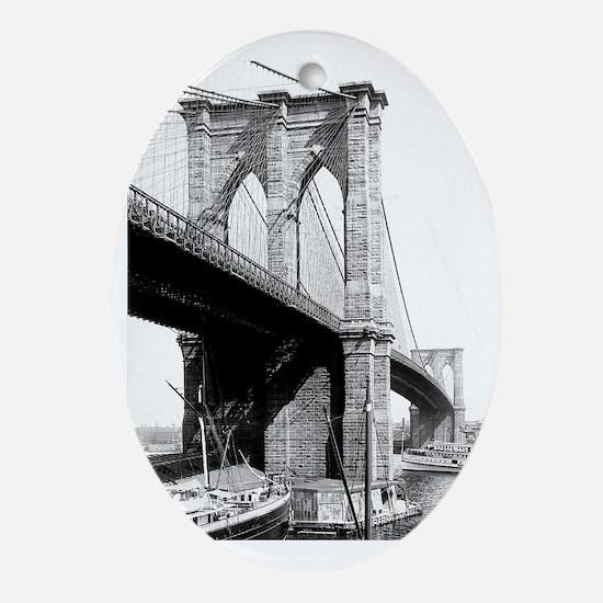 Brooklyn Bridge 1896 Oval Ornament