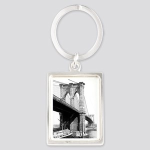Brooklyn Bridge 1896 Portrait Keychain