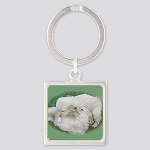 Golden Retriever Puppy Wall Calend Square Keychain