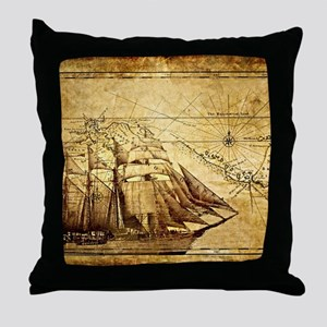 Vintage Map with Ship Throw Pillow