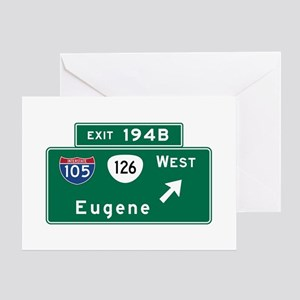 Eugene, OR Road Sign, US Greeting Cards