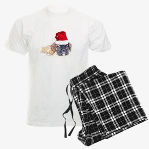 Christmas boxer puppy Men's Light Pajamas