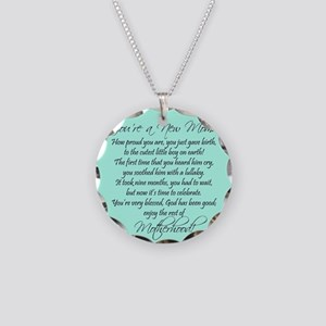 New Mom Ornament Boyl Necklace Circle Charm
