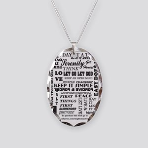 12 step back cover. Necklace Oval Charm
