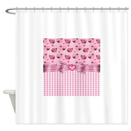 Lucky Pink Ladybugs Shower Curtain