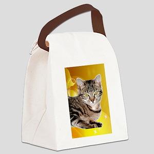 tabby cat peace joy b Canvas Lunch Bag