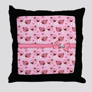 Pretty Pink Ladybugs Throw Pillow