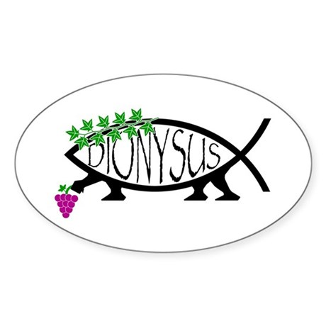 Dionysus Fish Oval Sticker