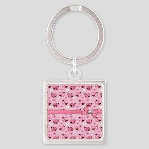 Pretty Pink Ladybugs Square Keychain