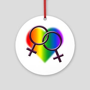 Rainbow Love Gay Pride Round Ornament