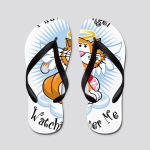 Angel-Watching-Over-Me-Orange-Cat Flip Flops