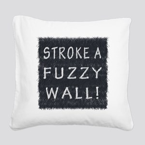 Fuzzy Wall BW Square Canvas Pillow