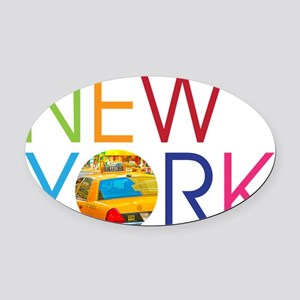 New York Taxi Oval Car Magnet