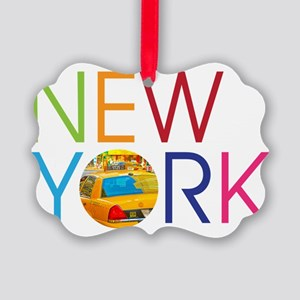 New York Taxi Picture Ornament