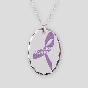epilepsy awareness_dark Necklace Oval Charm