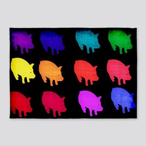 Rainbow Pigs 5'x7'Area Rug
