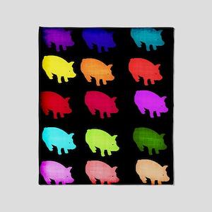 Rainbow Pigs Throw Blanket
