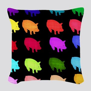 Rainbow Pigs Woven Throw Pillow