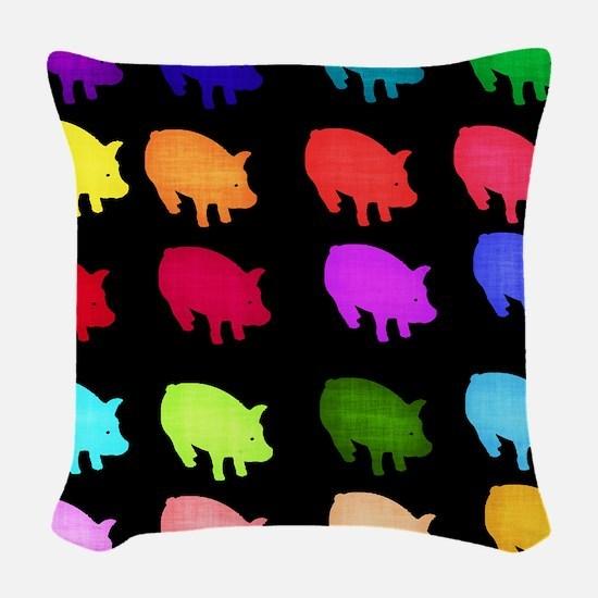 Rainbow Pigs Woven Throw Pillow