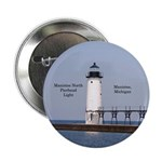 "Manistee North Breakwater Light 2.25"" Button"